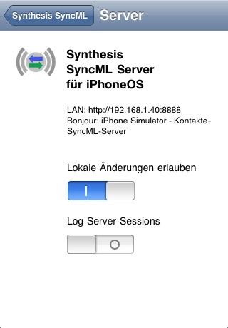 Synthesis SyncML LITE für iOSScreenshot von 2