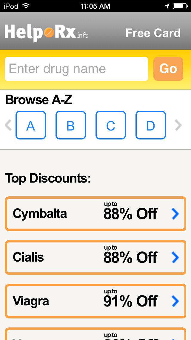 HelpRx Mobile Prescription Discounts Screenshot