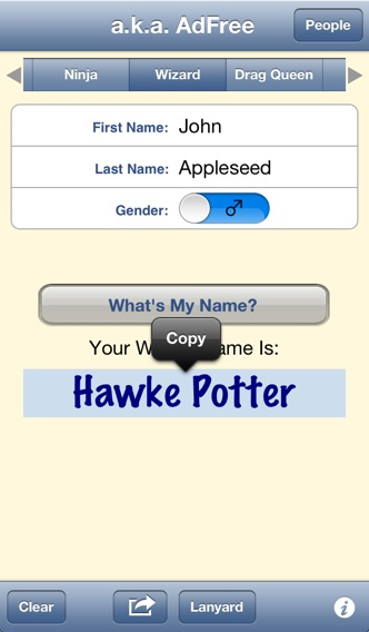 a.k.a. - Your Favorite Name Generator iPhone