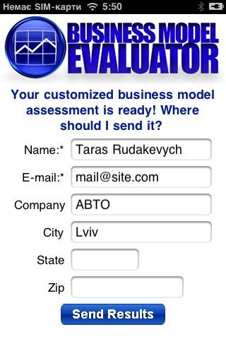 Screenshot of Business Model Evaluator