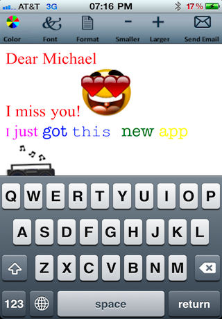 Email Text and Emoticons Editor (Colors, fonts, formats and sizes) screenshot 1