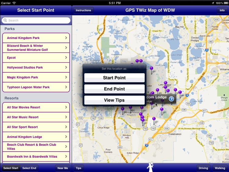 GPS Transportation Wizard HD for Walt Disney World