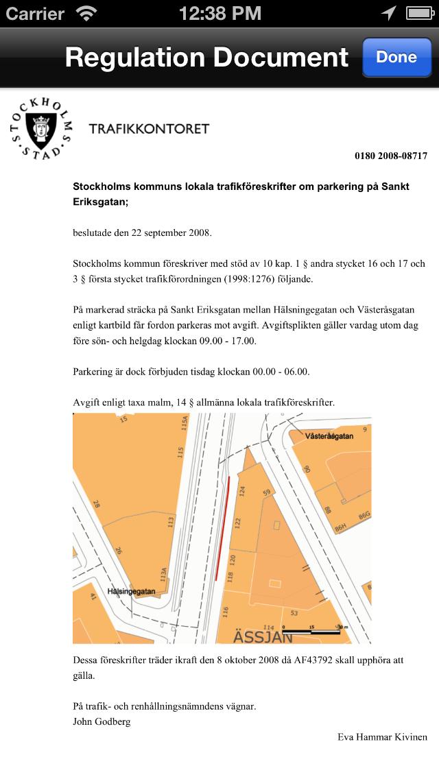 Gatuparkering Stockholm iPhone