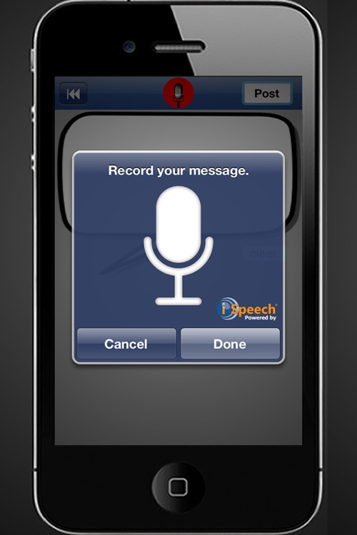SocialSpeech: Speech-to-Text and Voice Recognition for Facebook Status Updates and Twitter Tweets screenshot-3
