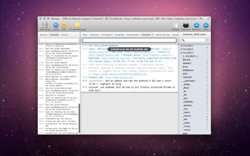 Mango IRC - Chat client скриншот программы 2
