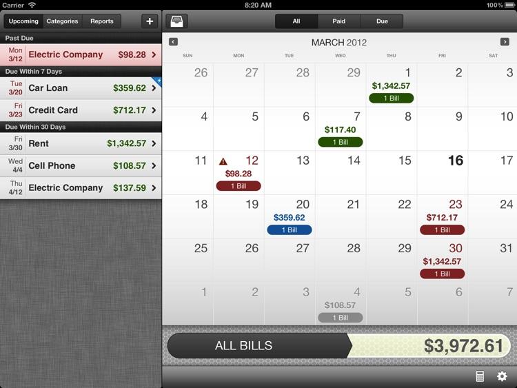 BillMinder for iPad - Bill Reminder and Organizer