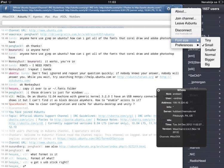 Mango IRC HD - Chat client screenshot-3