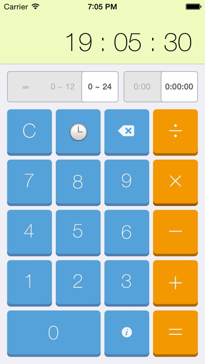 Time + Calculator over Hours Minutes and Seconds