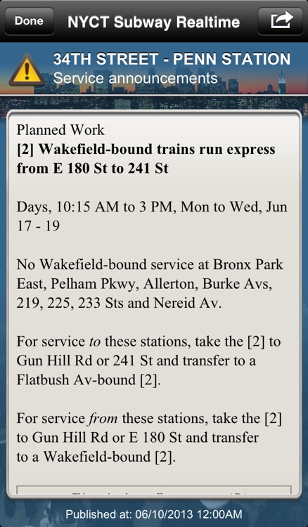 NYCT Subway - Never miss your transport