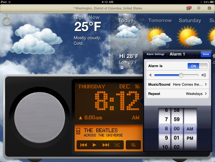 Alarm Clock & Weather HD - Digital Night Stand for iPad screenshot-1