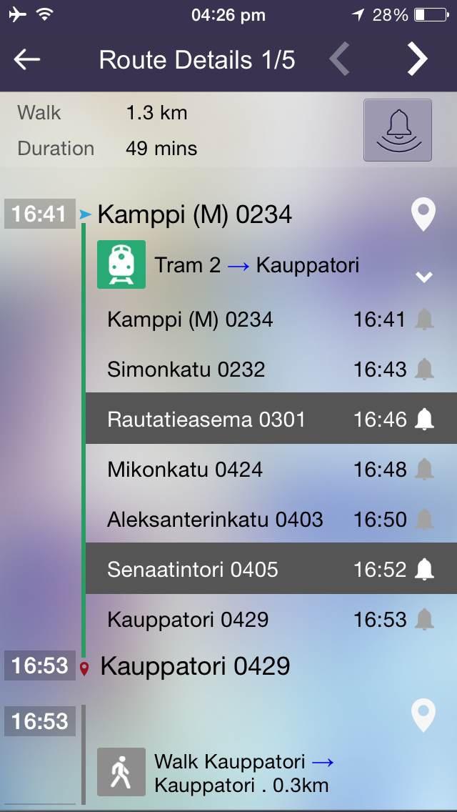 OnTimely-Helsinki, reittiopas, aikataulu ja pysäkit, HSL, kartta reitti, reitin päästöt, reittihaku, journey planner screenshot four