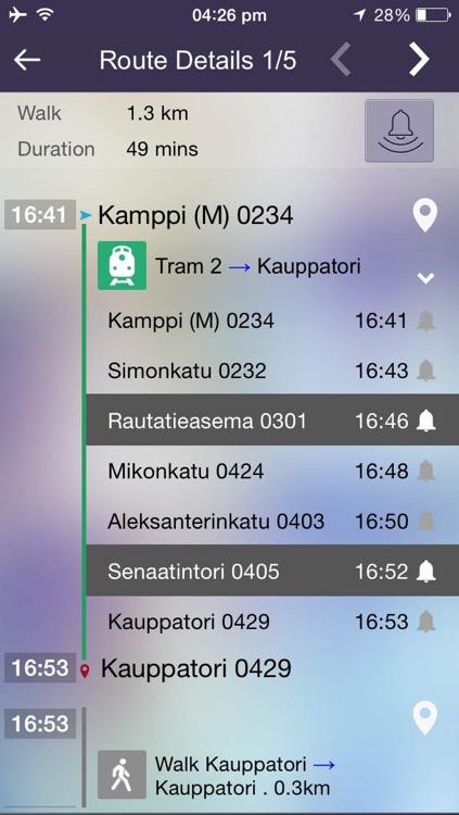 OnTimely-Helsinki, reittiopas, aikataulu ja pysäkit, HSL, kartta reitti, reitin päästöt, reittihaku, journey planner screenshot-3