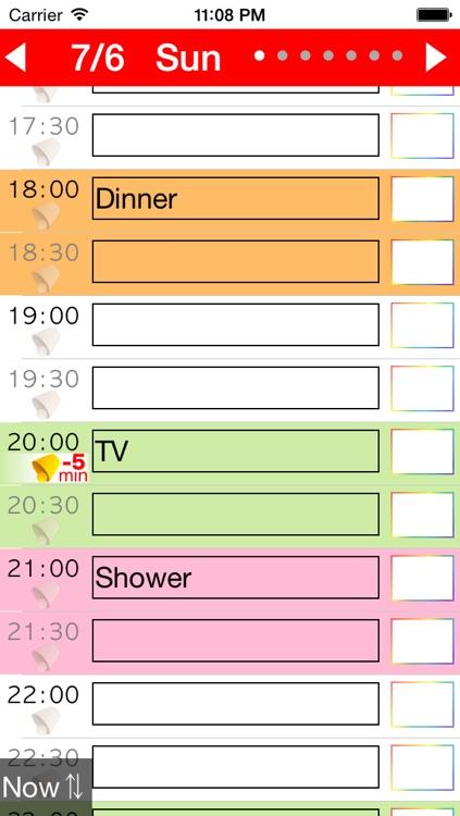 Week Table - Weekly Schedule Timetable / scheduler / planner