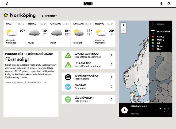 SMHI Väder för iPad