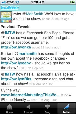 Screenshot of IMTW - The App