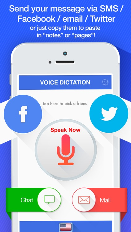 Voice Dictation -  dictate & send your text messages for Facebook and Twitter screenshot-3