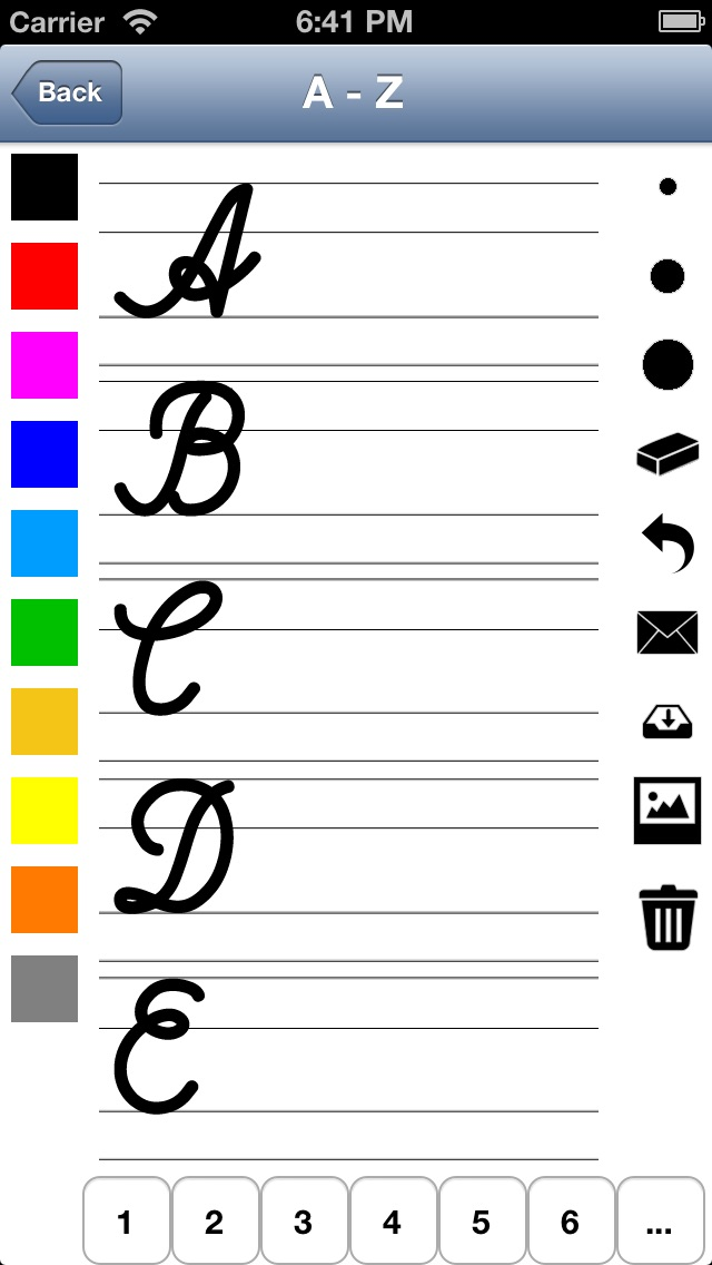 Handwriting worksheets for children: Learn to write the letters of the alphabet in script and cursive Screenshot