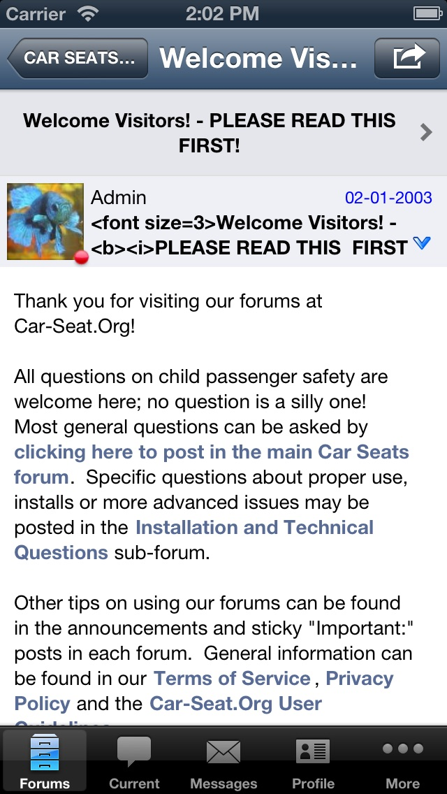 Car-Seat Org Forums and Features   App Price Drops