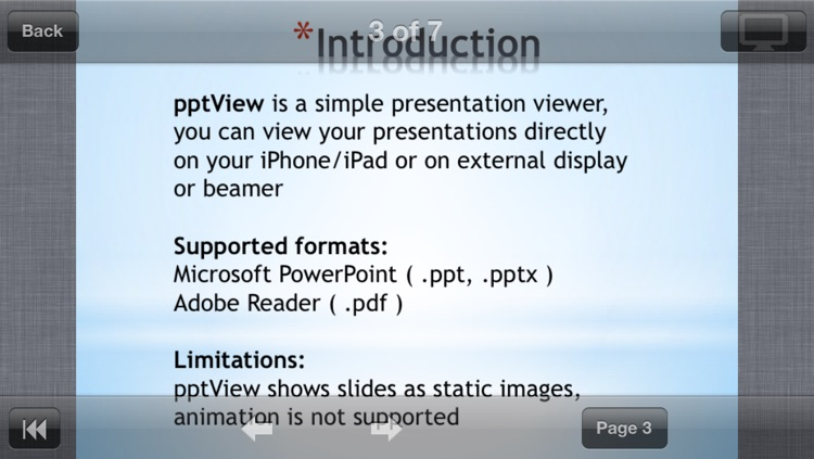 pptView - viewer for Powerpoint (ppt,pptx,pps,ppsx), OpenOffice (odp) and PDF presentations
