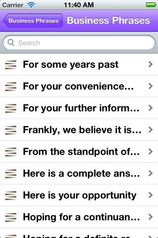 Screenshot of 15500 Useful English Phrases Business edition