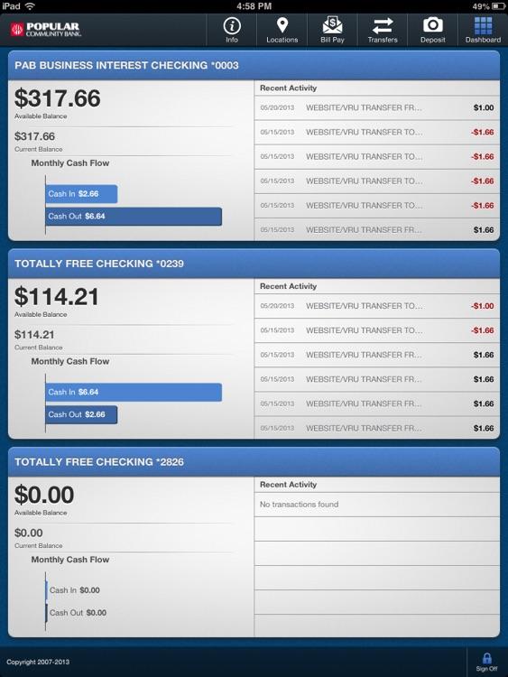 Popular Community Bank for iPad