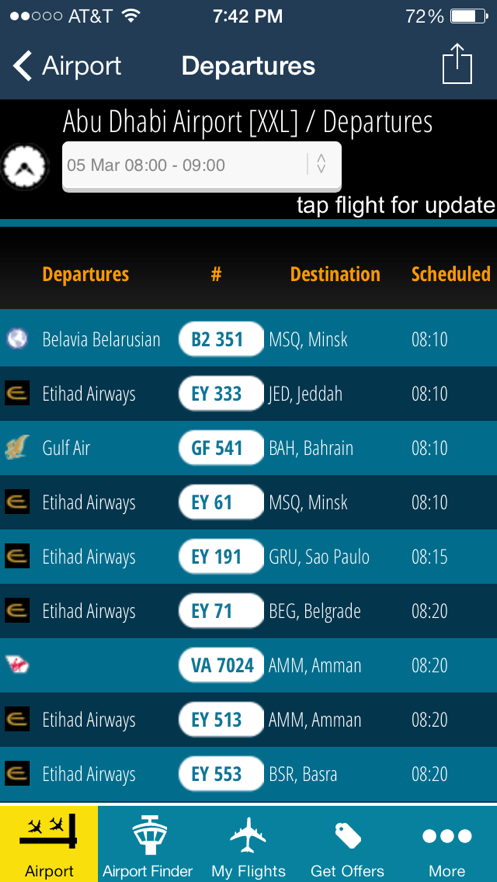 Abu Dhabi Airport - Flight Tracker AUH Etihad App 截图