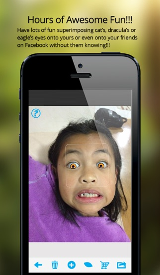 Screenshot #1 for EyeTuner Photo Editor - Giving you a facetune and superimpose cat, zombie and other eyes onto yours!