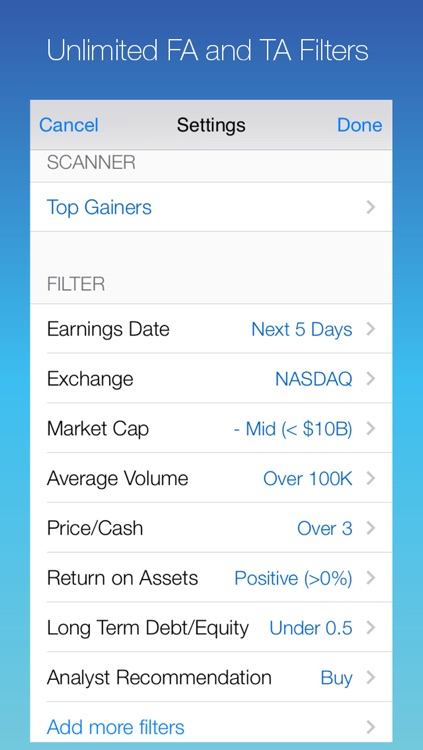ScreenerPro: Find Your Own Stock Picks by Screening the Market with Customized Fundamental and Technical Patterns and Filters; Research and Monitor Your Pick with Real-Time Quote, Chart Reading, and Price Alert Push Notification; Cloud Sync Supported