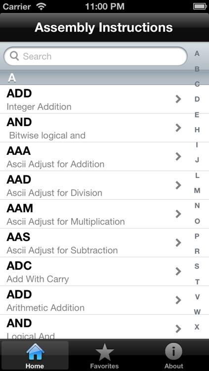 Assembly Instruction Reference