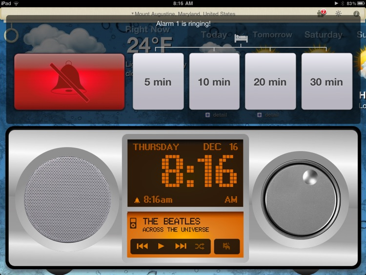 Alarm Clock & Weather HD - Digital Night Stand for iPad screenshot-2