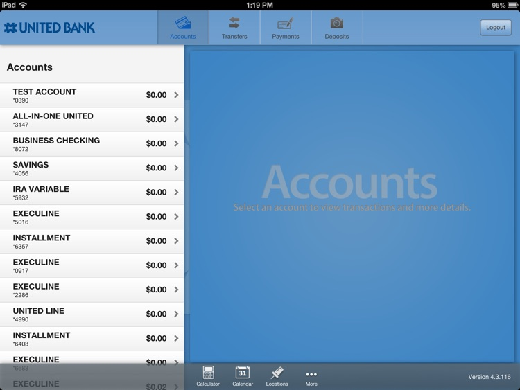 United Bank of Michigan Mobile Banking for iPad