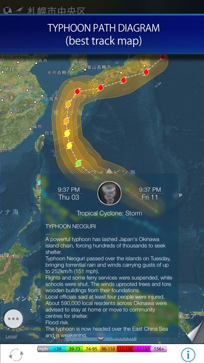 Rain radar and storm tracker for Japan