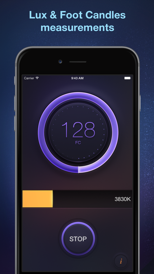 Lux Meter - light measurement tool for measuring lumens, foot candles, lx and light temperature App 截图