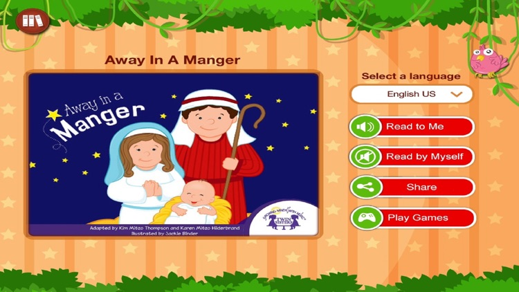 Away In A Manger by Twin Sisters - Read along interactive Christmas eBook in English for children with puzzles and learning games