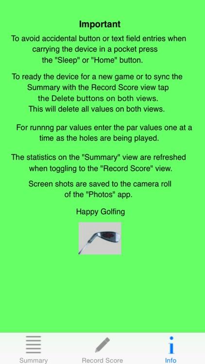 Duffer's Golf Score Card