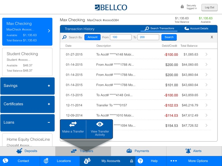 Bellco Mobile Banking for iPad