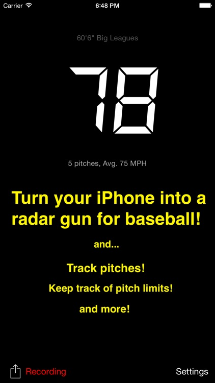 Pitch Radar 2 - Baseball radar gun with reports screenshot-0