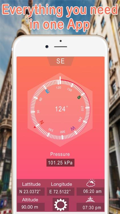 GPS Compass | Heading, Altimeter, Barometer, Location, Sunrise & Sunset