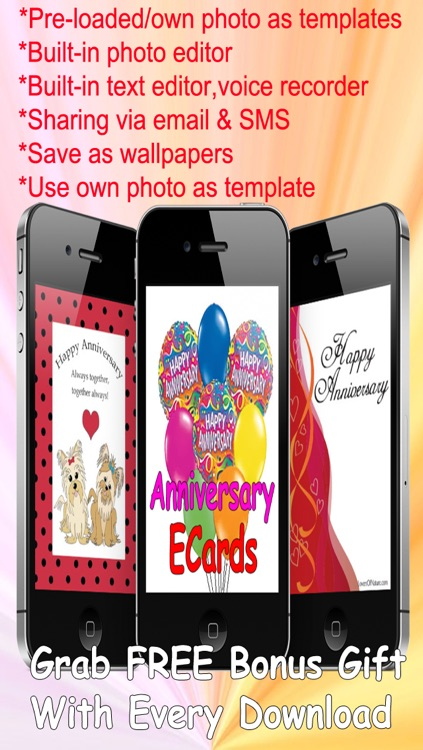 The Ultimate Anniversary eCards with Photo Editor.Customize and send anniversary eCards with text and voice greeting messages