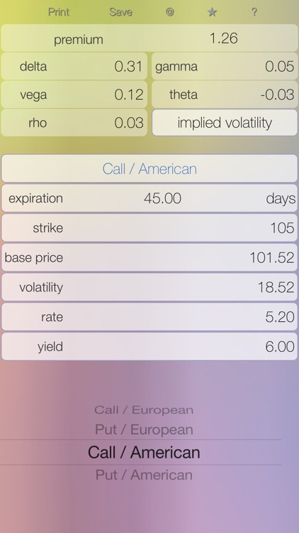 Options - option calculator: Black–Scholes pricing model