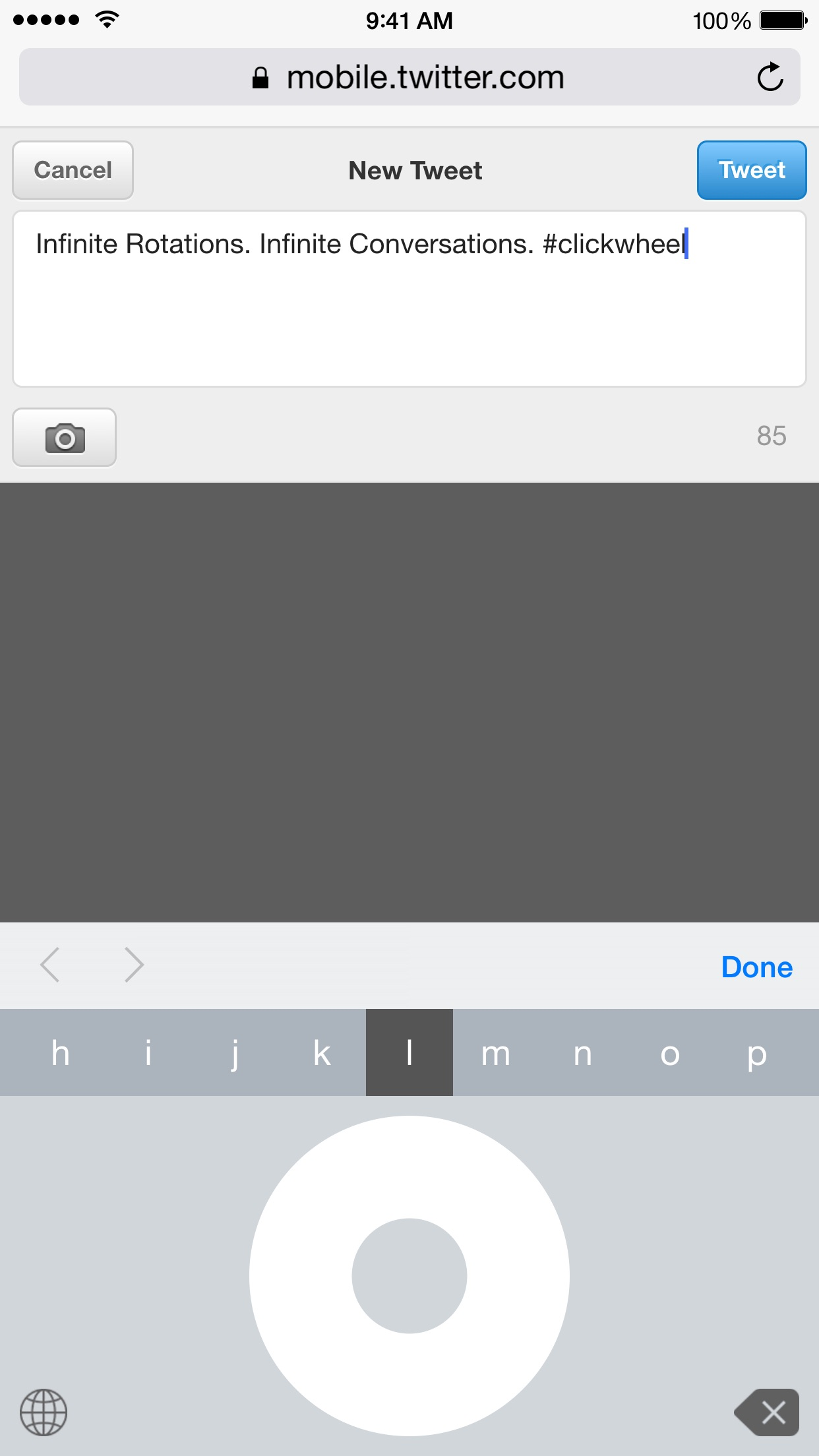 Screenshot do app Click Wheel Keyboard