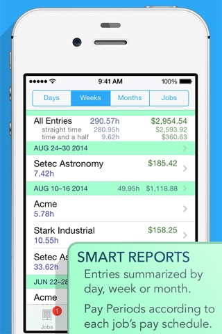Screenshot of HoursTracker Pro: Track your time and pay