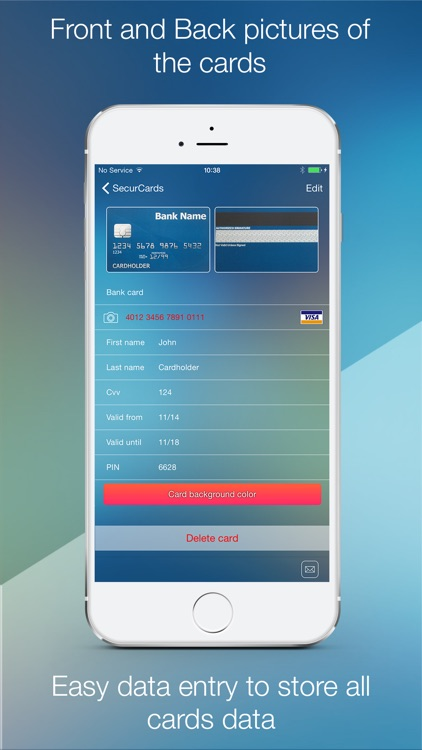 SecurCards: archive and encrypt credit cards and any other card