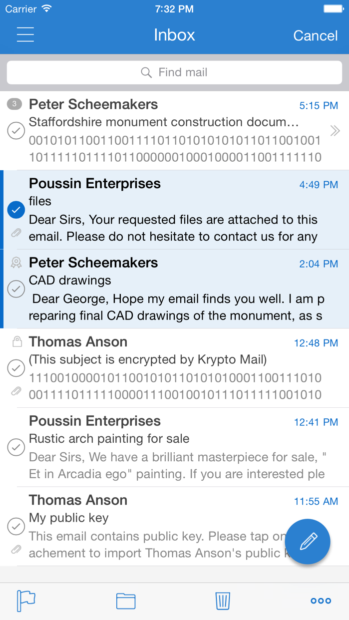 KryptoMail — email client with built-in support for PGP encryption Screenshot