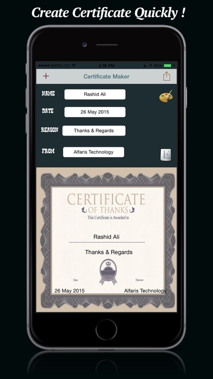 Certificate Maker : Share professional certificates !