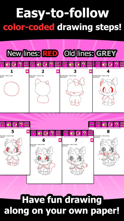 Draw and Color Cats Dogs - How to Draw cute dogs cats - Cartoon Kitty Puppy Fun Pets - Fun2draw™ Dogs and Cats Lv3