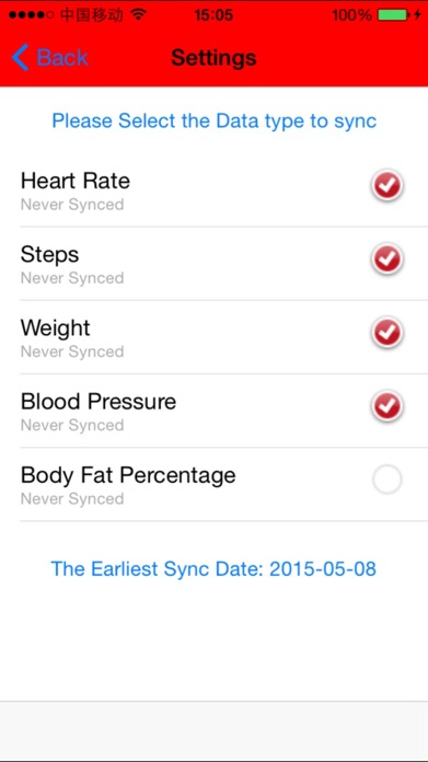 Sync from Health to Fitbit Screenshot