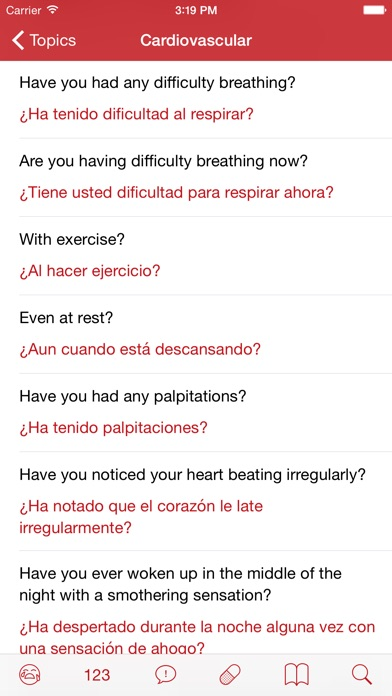 Medical Spanish review screenshots