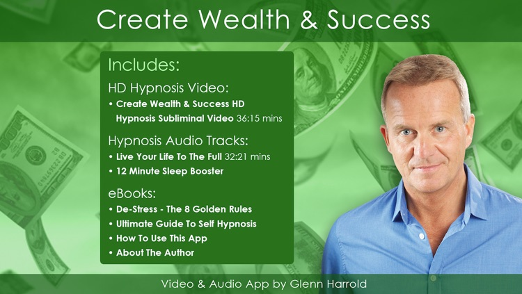 Create Wealth and Success Hypnosis Subliminal Affirmation Video App by Glenn Harrold