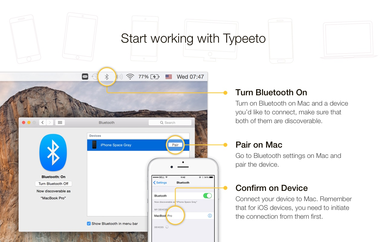 Screenshot do app Typeeto: remote BT keyboard